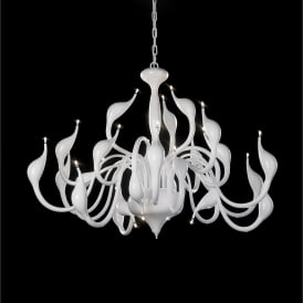 Swan 24 Light Low Voltage Halogen Multi Arm Ceiling Pendant in White Finish