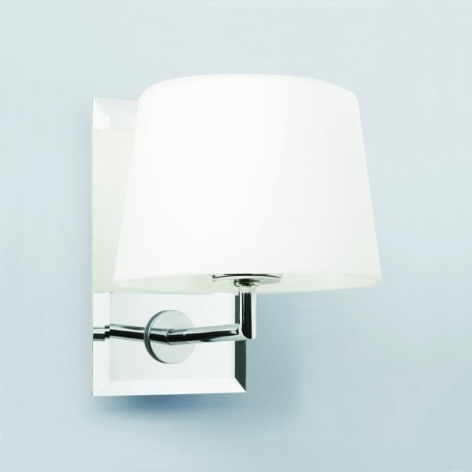 Astro Lighting Image Single Light Wall Fitting in Polished Chrome Finish With White Glass Shade
