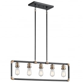 Imahn 5 Light Linear Chandelier in Black and Natural Brass Finish
