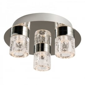 Imperial 3 Light LED Flush Bathroom Ceiling Fitting In Polished Chrome And Clear Glass Finish