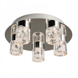Imperial 5 Light LED Flush Bathroom Ceiling Fitting In Polished Chrome And Clear Glass Finish