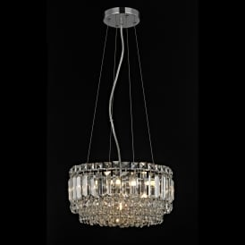 Alvery 4 Light Crystal Round Celing Pendant in Polished Chrome with Crystal Decoration
