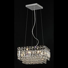 Alvery 4 Light Crystal Square Celing Pendant in Polished Chrome with Crystal Decoration