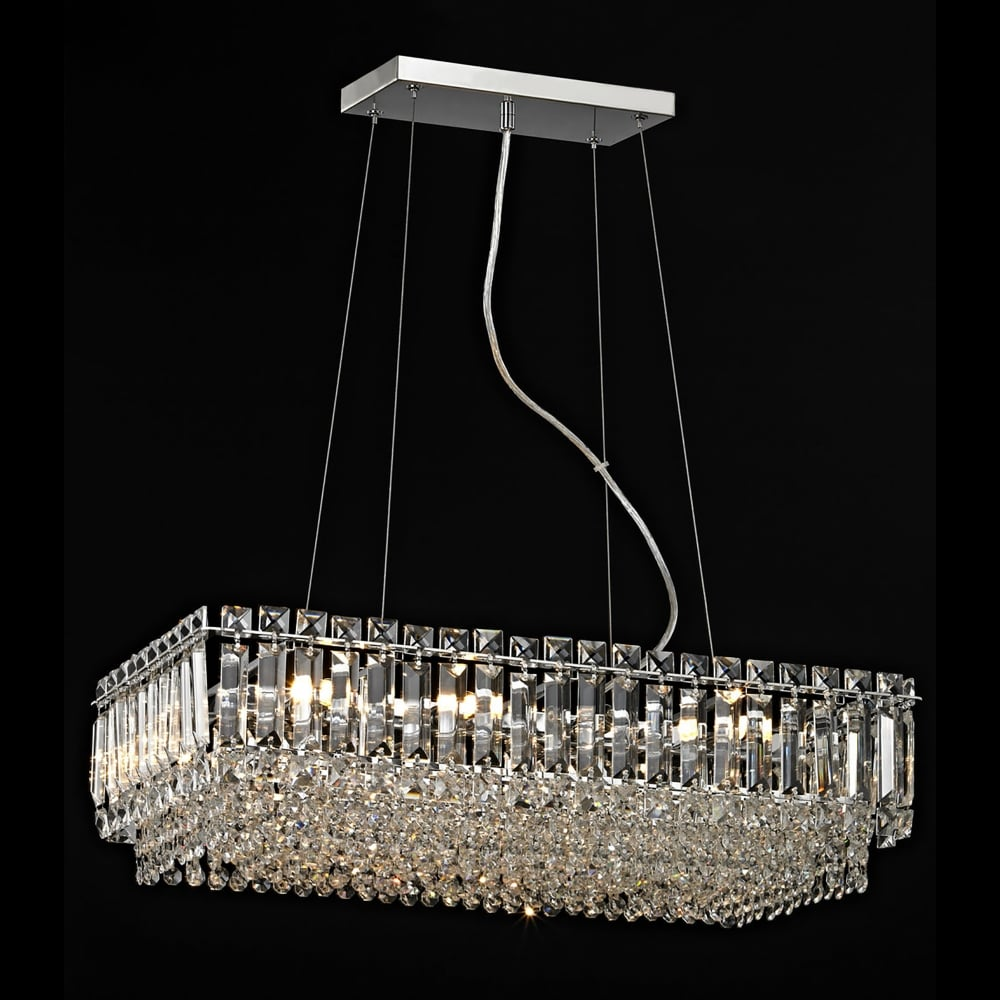 Impex Lighting Alvery 8 Light Crystal Ceiling Pendant In