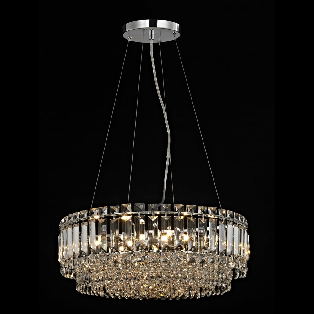 release date 55a3a 883cb Impex Lighting Alvery 8 Light Crystal Round Large Ceiling Pendant in  Polished Chrome with Crystal Decoration