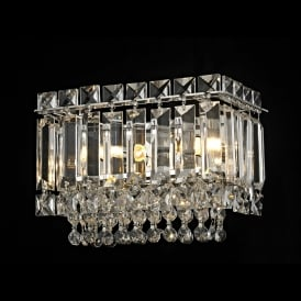 Alvery Single Light Crystal Wall Fitting in Polished Chrome with Crystal Decoration