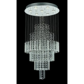 Barcelona 7 Light Ceiling Pendant In Polished Chrome And Crystal Finish