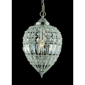 Bombay Single Light Large Ceiling Pendant In Crystal And Polished Chrome Finish