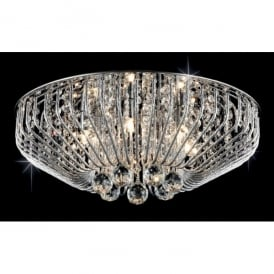 Carlo 6 Light Flush Ceiling Fitting with Crystal Decoration