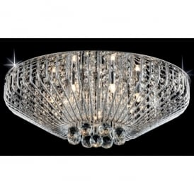 Carlo 7 Light Flush Ceiling Fitting with Crystal Decoration
