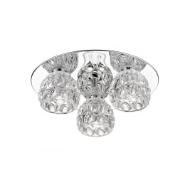 Clea 3 Light LED Flush Ceiling Fitting In Polished Chrome And Crystal Finish