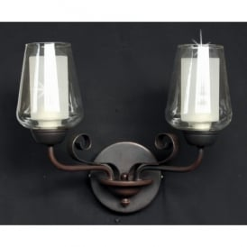 Devan 2 Light Wall Fitting in Dark Bronze Finish