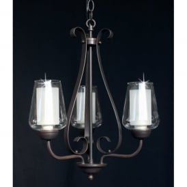 Devan 3 Light Ceiling Fitting in Dark Bronze Finish