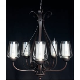 Devan 5 Light Ceiling Fitting in Dark Bronze Finish