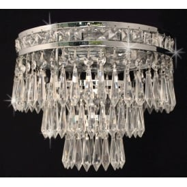Dian 3 Light Semi Flush Ceiling Fitting In Nickel And Crystal Finish