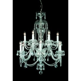 Dolni 12 Light Ceiling Pendant In Nickel And Clear Crystal Finish And White Candle Sleeves