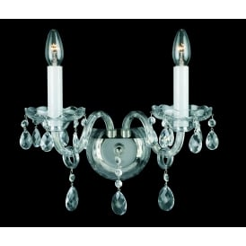 Dolni 2 Light Wall Fitting In Nickel And Clear Crystal Finish And White Candle Sleeves