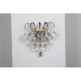 Emmie 2 Light Wall Fitting in Antique Brass Finish With Clear Crystal Decoration