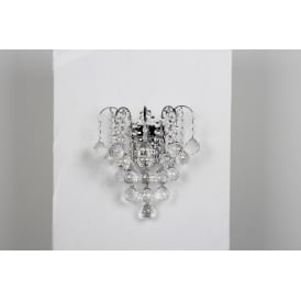 Emmie 2 Light Wall Fitting in Polished Chrome Finish With Clear Crystal Decoration