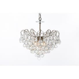 Emmie 5 Light Ceiling Pendant in Antique Brass Finish With Clear Crystal Decoration