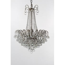 Emmie 9 Light Ceiling Pendant in Antique Brass Finish With Clear Crystal Decoration
