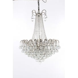 Emmie 9 Light Ceiling Pendant in Polished Chrome Finish With Clear Crystal Decoration