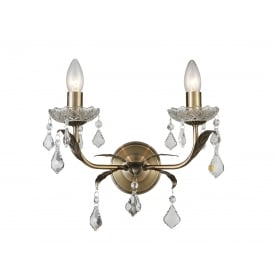 Evon 2 Light Wall Fitting in Antique Brass And Crystal Finish