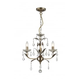 Evon 3 Light Ceiling Pendant in Antique Brass And Crystal Finish