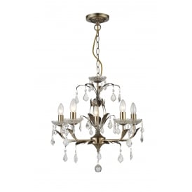 Evon 5 Light Ceiling Pendant in Antique Brass And Crystal Finish