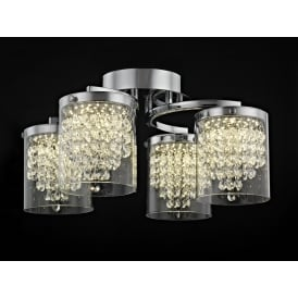Florina 4 LED Ceiling Fitting in Polished Chrome Finish with Crystal Decorations