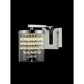 Florina Single LED Wall Fitting in Polished Chrome Finish with Crystal Decorations