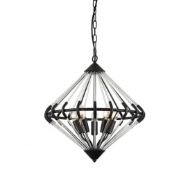 Gerda 3 Light Ceiling Pendant In Black And Crystal Finish