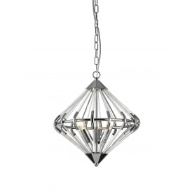 Gerda 3 Light Ceiling Pendant In Polished Chrome And Crystal Finish