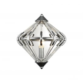 Gerda Single Light Wall Fitting In Polished Chrome And Crystal Finish