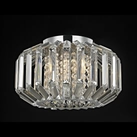 Juliet 4 Light Crystal Flush Celing Fitting in Polished Chrome with Crystal Decoration