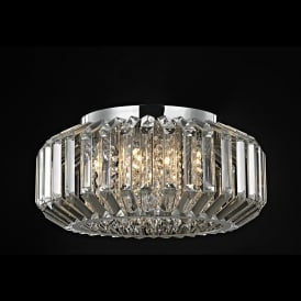 Juliet 6 Light Crystal Flush Celing Fitting in Polished Chrome with Crystal Decoration