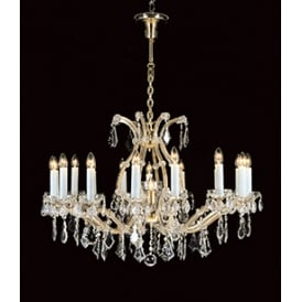 Karlova 17 Light Ceiling Chandelier In Gold Finish And Clear Crystal Decoration