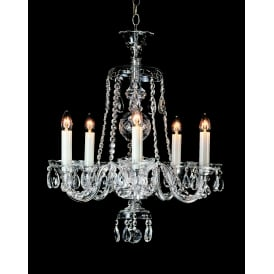 Kladno 5 Light Ceiling Pendant In Chrome And Clear Crystal Finish With White Candle Sleeves