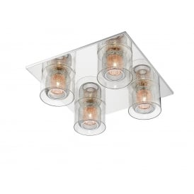 Laure 4 Halogen Light Flush Ceiling Pendant in Polished Chrome Finish with Copper