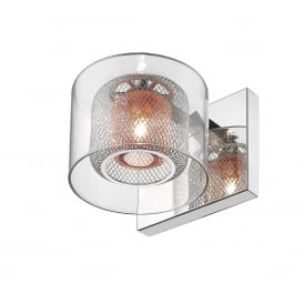 Laure Single Halogen Light Wall Fitting in Polished Chrome Finish with Copper Inner