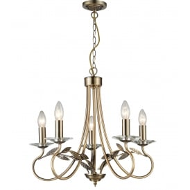 Lela 5 Light Ceiling Pendant in Antique Brass And Crystal Finish
