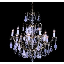 Louvre 12 Light Ceiling Chandelier Fitting In Polished Brass Finish With Clear Crystal Decoration