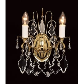 Louvre 2 Light Wall Fitting In Polished Brass Finish With Clear Crystal Decoration