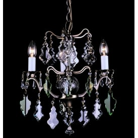 Louvre 3 Light Ceiling Chandelier Fitting In Antique Brass Finish With Clear Crystal Decoration