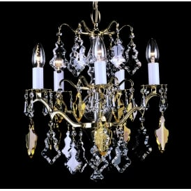 Louvre 5 Light Ceiling Chandelier Fitting In Polished Brass Finish With Clear Crystal Decoration