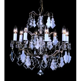Louvre 8 Light Ceiling Chandelier Fitting In Antique Brass Finish With Clear Crystal Decoration