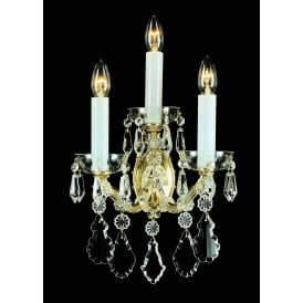 Misto 3 Light Wall Fitting In Gold Finish And Clear Crystal Decoration