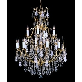 Montmartre 13 Light Ceiling Chandelier Fitting In French Gold Finish With Clear Crystal Decoration