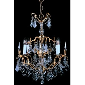Montmartre 4 Light Ceiling Chandelier Fitting In French Gold Finish With Clear Crystal Decoration
