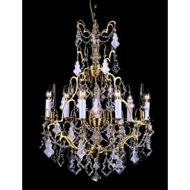 Montmartre 7 Light Ceiling Chandelier Fitting In French Gold Finish With Clear Crystal Decoration